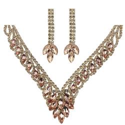 Teardrop Cubic Zirconia Necklace Earrings Set Rose