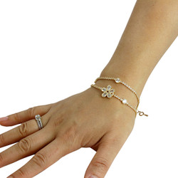 Cubic Zirconia Flower Layered Bracelet Long Chain Gold