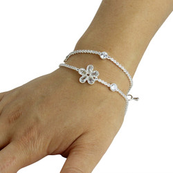 Cubic Zirconia Flower Layered Bracelet Long Chain Silver