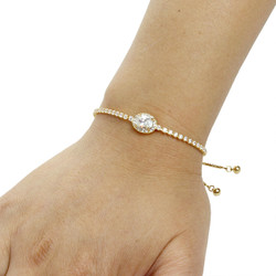 Oval-Cut Cubic Zirconia Friendship Slider Bracelet Gold
