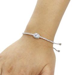 Oval-Cut Cubic Zirconia Friendship Slider Bracelet Silver