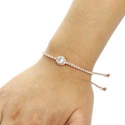 Oval-Cut Cubic Zirconia Friendship Slider Bracelet Rose Gold
