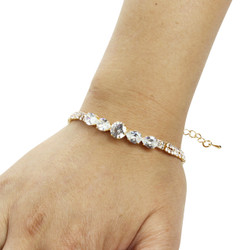 Round-cut and Pear-Cut Cubic Zirconia Tennis Chain Bracelet Gold