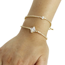 Cubic Zirconia Geometric Layered Bracelet Long Chain Gold
