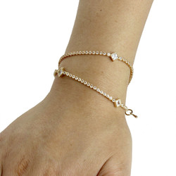 Cubic Zirconia Diamond Shape Layered Bracelet Long Chain Gold