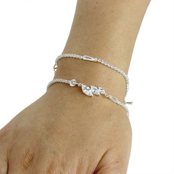 Cubic Zirconia Marquise-Cut Layered Bracelet Long Chain Silver