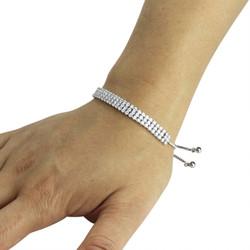 3 Row Cubic Zirconia Tennis Slider Bracelet Silver