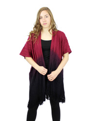 Short Sleeve Knitted Long Cardigan with Tassels Ombre burgundy black
