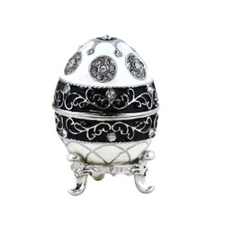 Faberge Style Jeweled Egg Trinket Box Black and White