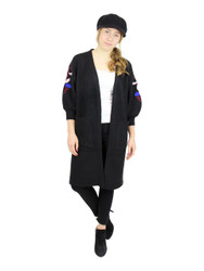 Knitted Long Cardigan Sweater Embroidered Flowers Black
