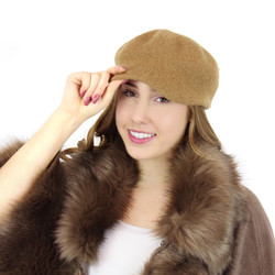 100% Wool Newsboy Cap Hat Camel