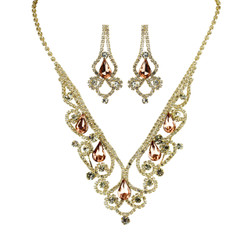 Vintage Style Elegant Necklace Earrings Set Cubic Zirconia Peach