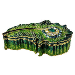 Peacock Feather Trinket Box Bejeweled