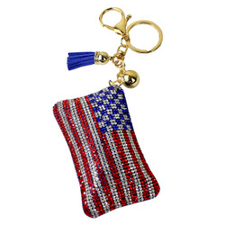 American Flag Rhinestone Keychain with Soft Padded Backing