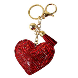 Red Heart Rhinestone Keychain with Soft Padded Backing
