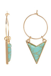 Triangle Turquoise Stone Drop Earrings