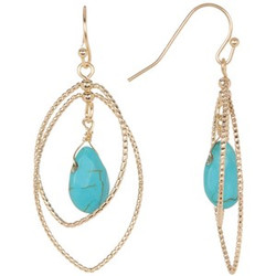 Double Teardrop Turquoise Stone  Earrings