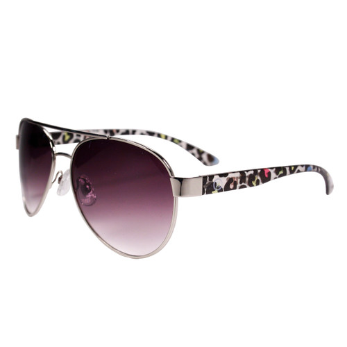 Aviator Sunglasses Cheetah Print Detail