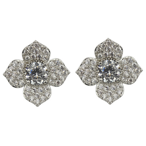 Cubic Zirconia Flower Petal Stud Earrings Silver