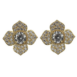 Cubic Zirconia Flower Petal Stud Earrings Gold
