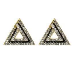 Art Deco Triangle Shaped Stud Earrings Cubic Zirconia Gold