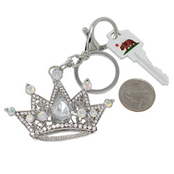 Crown Keychain Bag Charm Silver