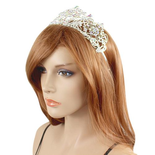 Large Crown Tiara Bridal Wedding Crystals AB