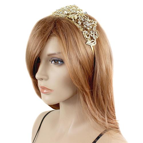 Large Crown Tiara Bridal Wedding Crystals Gold