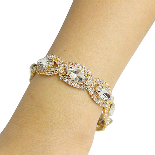 Cubic Zirconia Two Tone Bracelet Gold