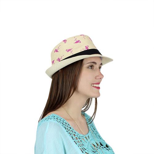 Flamingo Fedora Hat Paper Straw Beige