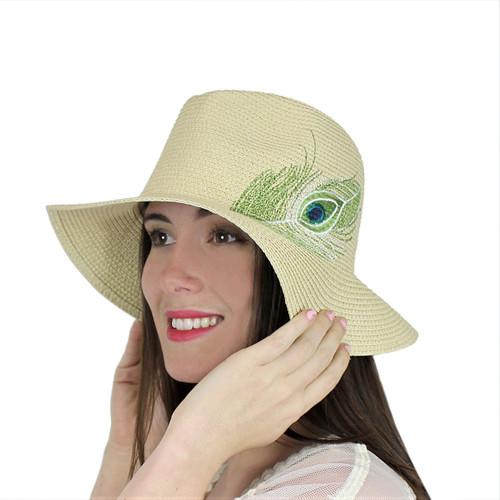 Peacock Virginie Straw Hat Embroidered Feather Beige