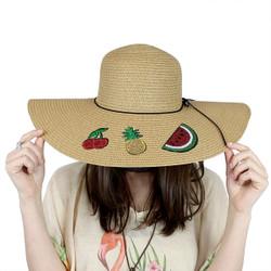 Fruit Patches Floppy Hat Sequined Wide Brim Khaki