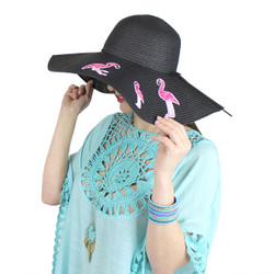 Flamingo Floppy Hat Embroidered Patches Black