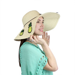 Pineapple Patches Floppy Hat Sequined Wide Brim Beige
