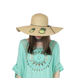 Pineapple Patches Floppy Hat Sequined Wide Brim Khaki