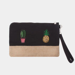 Pineapple Cactus Makeup Bag Sequined Patch Black