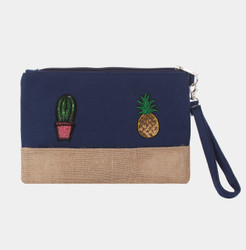 Pineapple Cactus Makeup Bag Sequined Patch Navy