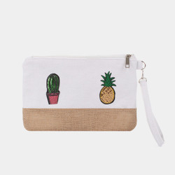 Pineapple Cactus Makeup Bag Sequined Patch White