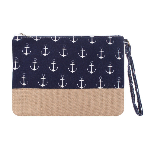 Anchor Makeup Bag Two Toned Canvas Hemp Navy