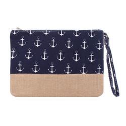 Anchor Makeup Bag Two Toned Canvas Hemp Navy