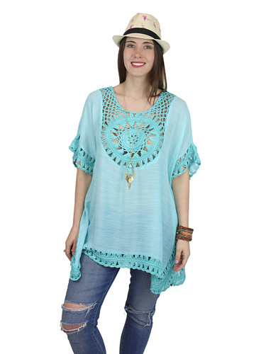 Boho Crochet Tunic Short Sleeves Turquoise