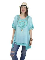 Boho Crochet Tunic Short Sleeves Turquoise