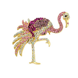 Pink Flamingo Brooch Crystals Pin or Pendant