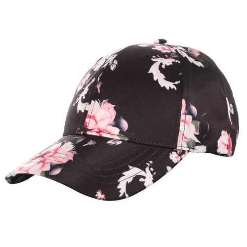 Floral Print Baseball Hat Satin Black
