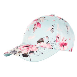 Floral Print Baseball Hat Satin Blue