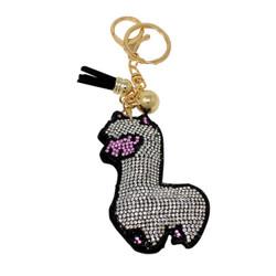 Silver Llama Key Chain with Soft Padded Felt Backing