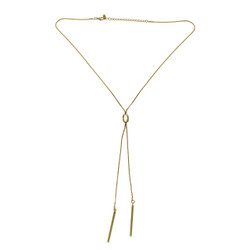Knot and Plunging Bars Y-Shaped Necklace Gold