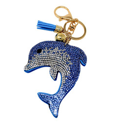 Dolphin Rhinestone Key Chain with Soft Padded Felt Backing