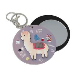 Llama Compact Mirror Key Chain Charm