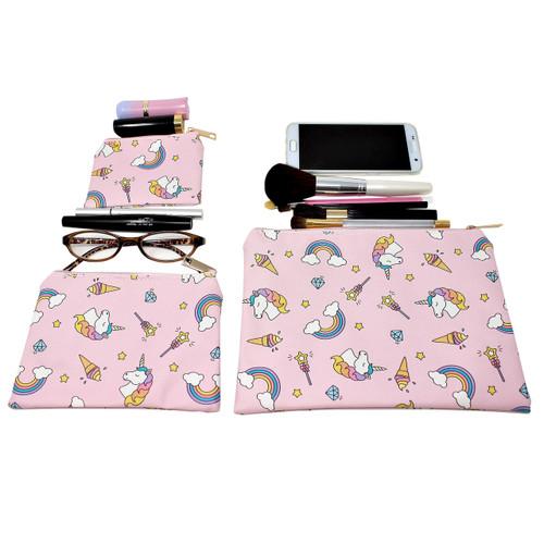 Rainbow Unicorn Cosmetic Bags 3 piece Set